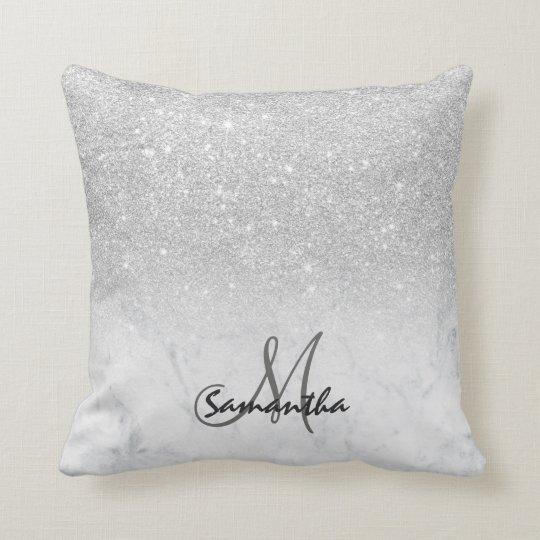 Custom faux silver glitter ombre white marble cushion