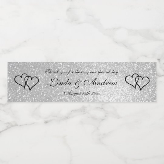 Custom faux silver glitter wedding party favour water