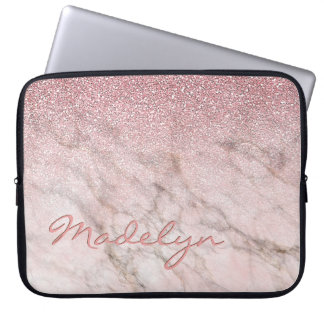 Custom Faux White Gray Marble Pink Glitter Pattern Laptop Sleeve