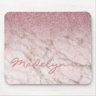 Custom Faux White Gray Marble Pink Glitter Pattern Mouse Mat