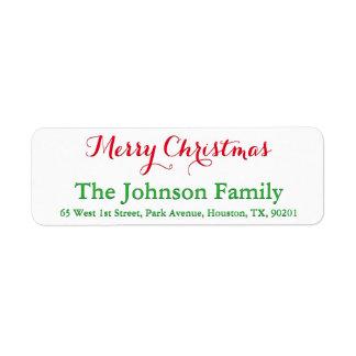 Custom Festive Red Green Script Merry Christmas Return Address Label