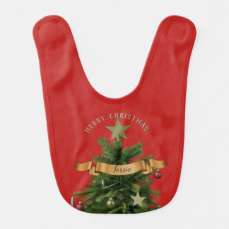 Custom Festive Red Merry Christmas Tree Baby Bib