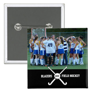 Custom Field Hockey Photo Collage Name Team Number 15 Cm Square Badge