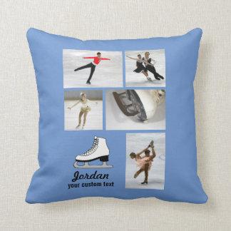 Custom Figure Skating 5 Photo Collage Skater Name Cushion