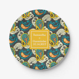 Custom Filigree Paisley Swirls Wedding Paper Plate
