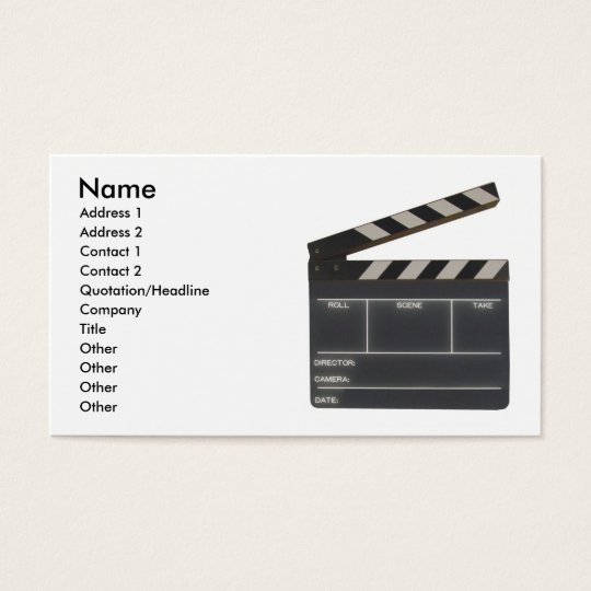 Custom Film slate clapboard movie business card