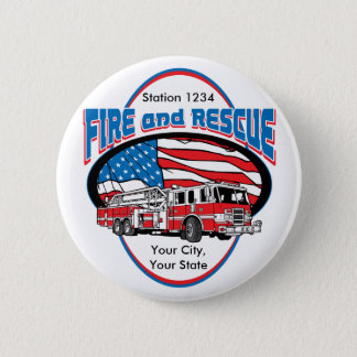 Custom Fire and Rescue 6 Cm Round Badge