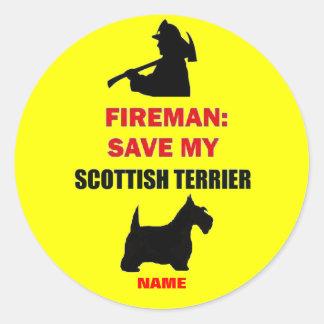 Custom Fire Safety Scottish Terrier Classic Round Sticker