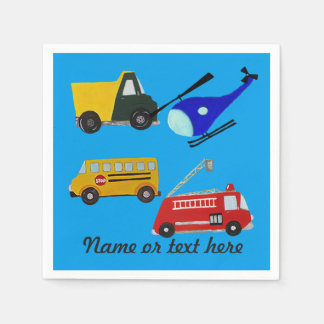 Custom fire, sand truck, school bus and helicopter disposable serviette