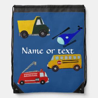 Custom fire, sand truck, school bus, helicopter cinch bag