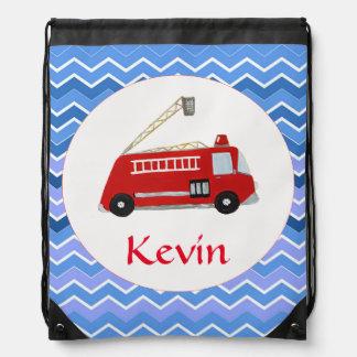 Custom Fire truck on a chevron background Drawstring Bag