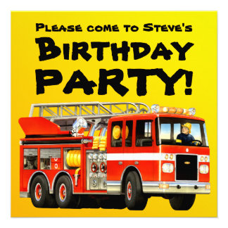 Custom Fire Truck Party Personalized Announcements