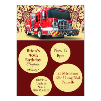 Custom Firefighter Birthday Invitations