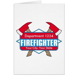 Custom Firefighter with Axes Greeting Card