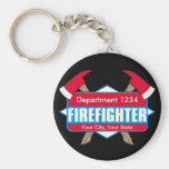 Custom Firefighter with Axes Basic Round Button Key Ring