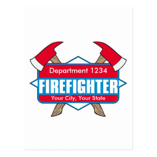 Custom Firefighter with Axes Post Cards