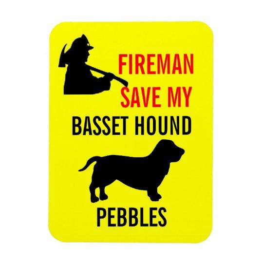 Custom Fireman Save My Basset Hound Fire Safety Rectangular Photo Magnet