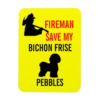 Custom Fireman Save My Bichon Frise Safety Magnet