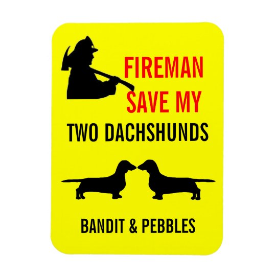 Custom Fireman Save My Two Dachshunds Fire Safety Rectangular Photo Magnet