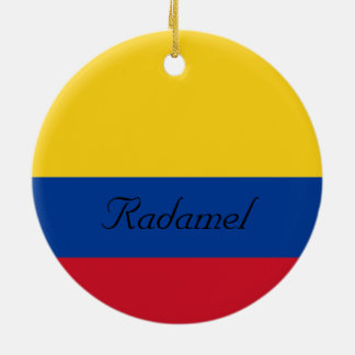 Custom Flag of Colombia Yellow Blue Red Round Ceramic Decoration