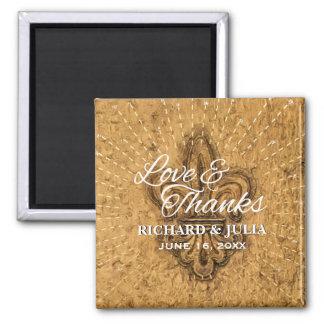 Custom Fleur De Lis Gold Wedding Favor Thank You Square Magnet