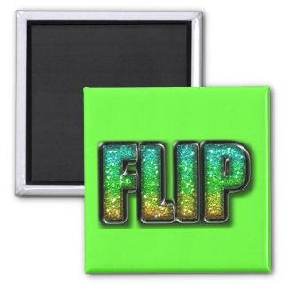 Custom Flip Glitter Green Refrigerator Magnet