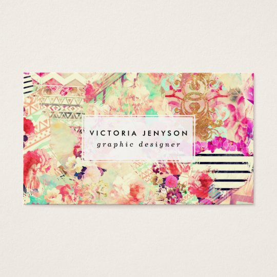 Custom floral aztec pink patchwork personalised business card