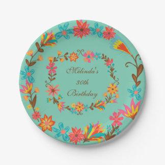 Custom Floral Birthday Paper Plate