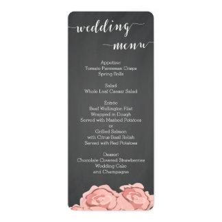 Custom Floral Chalkboard Wedding Menu 10 Cm X 24 Cm Invitation Card