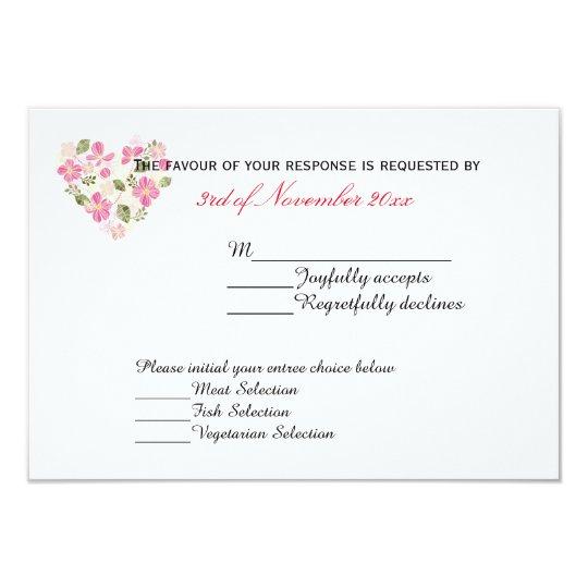 Custom Floral Heart Acceptance Card Invitations
