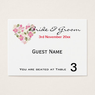 "Custom Floral Heart ""Place Card' Invitations"
