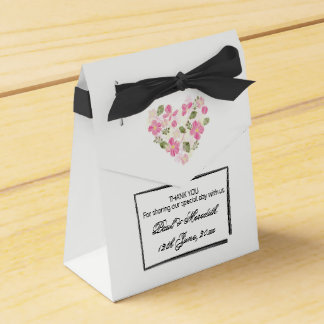 Custom Floral Heart Tent with Ribbon Favour Box