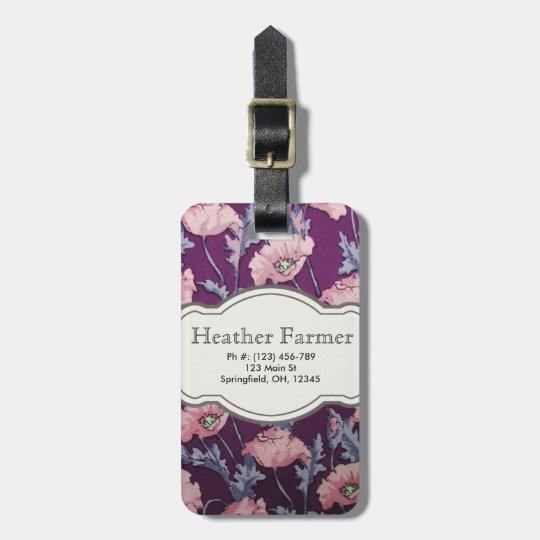 Custom Floral Luggage Tag