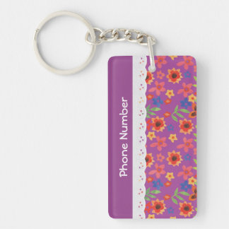 Custom Floral on Magenta, Faux Lace Keychain
