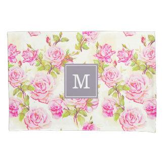 Custom Floral Pattern Old Roses Monogram Pillow C Pillowcase