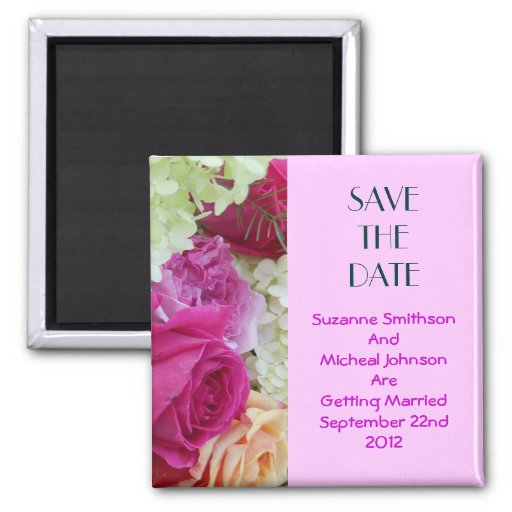 Custom Floral Pink Flowers Save The Date Wedding Refrigerator Magnets
