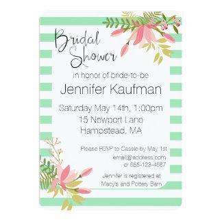 Custom Floral Stripe Wedding | Bridal Shower Card