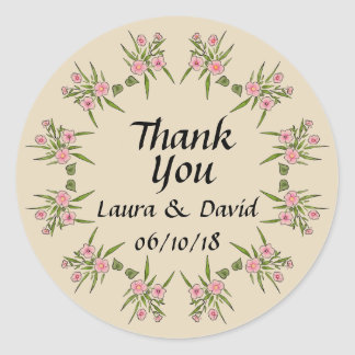 Custom Floral Wedding Thank You Sticker