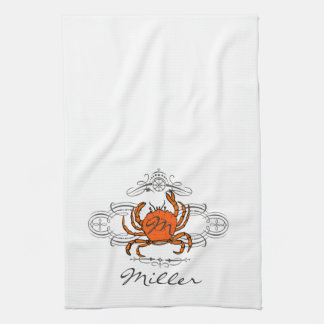 Custom Flourish Crab Kitchen Towel