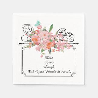 Custom Flower paper napkins live laugh love
