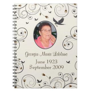 Custom Flowers and Swirls Memorial Guestbook Notebook
