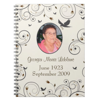 Custom Flowers and Swirls Memorial Guestbook Notebooks