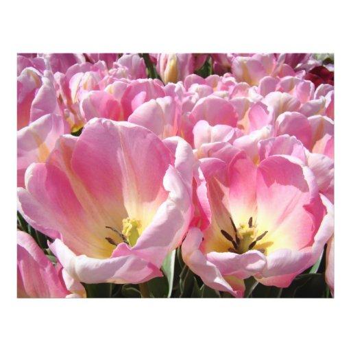 Custom Flyers paper Pink Tulip Flowers Annoucement