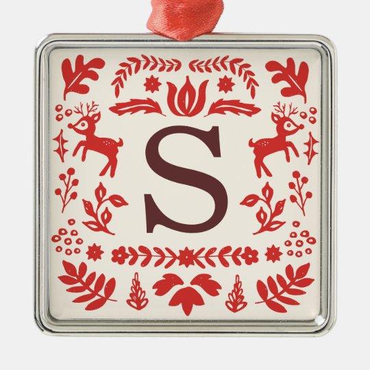 Custom Folk Art Holiday Monogram Ornament