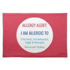 Custom Food Allergy Alert Personalised Kids Placemat