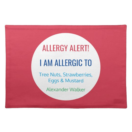 Custom Food Allergy Alert Personalised Kids Placemat