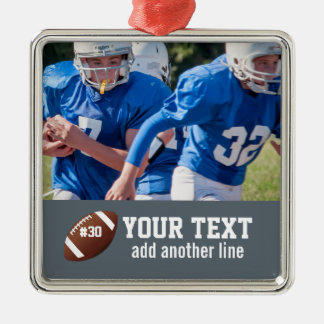 Custom Football Photo Name and Number Christmas Ornament