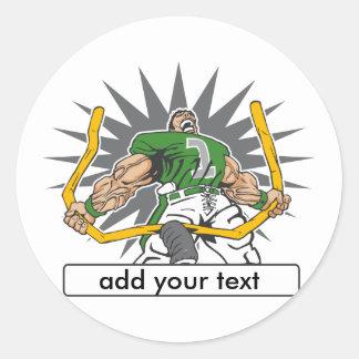 Custom Football Player Green Classic Round Sticker