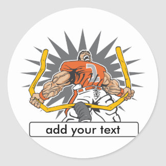 Custom Football Player Orange Classic Round Sticker