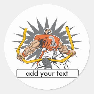 Custom Football Player Orange Round Sticker